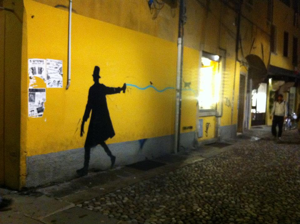 Shadow of a man on wall
