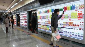 Tesco 'Homeplus' underground virtual supermarket in South Korea