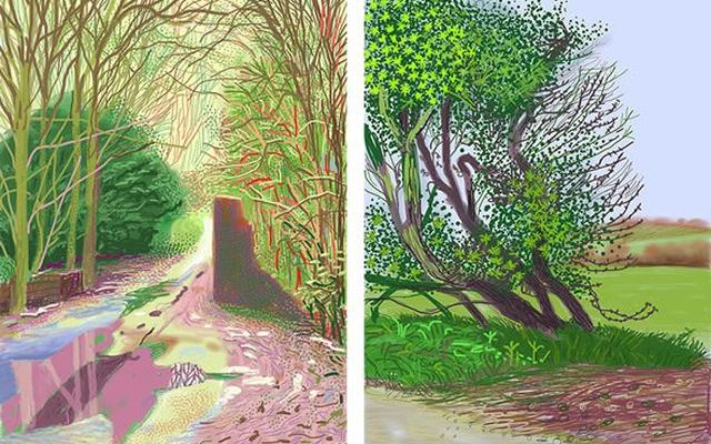 Hockney: The Arrival of Spring in Woldgate, East Yorkshire, 2011 (iPad drawing)