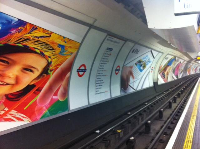 iPad ads at Oxford St tube platform